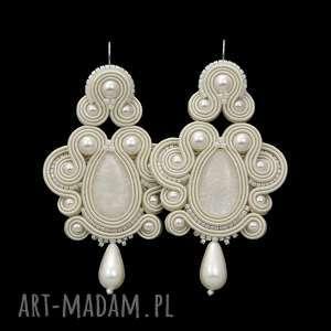 kolczyki exite pearl soutache, sutasz, stylowe, rękodzieło, ślubne,