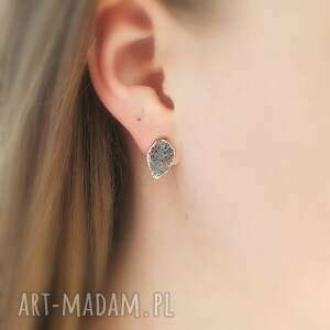 mini listki szare - kolczyki srebrne, kolczyki, biżuteria, srebrna, autorska