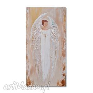 anioł, obraz ręcznie malowany - anioł, obraz, ręcznie, malowany, chrzest