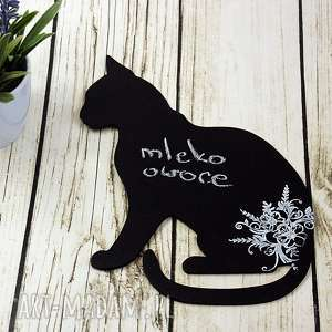 magnes-notatnik na lodówkę czarny kot i kwiaty, kot, magnes, lodówkę, farba