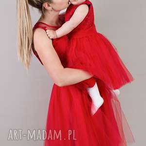 sukienki komplet sukienek anastazja 36 i 104/110, dla mamy córki, tiulowa