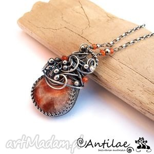 monolitas - kamień słoneczny, karneol, srebro, naszyjnik, sunstone naszyjniki