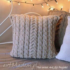 dom poszewka na poduszkę, poduszka, poszewka, dziergana, beż