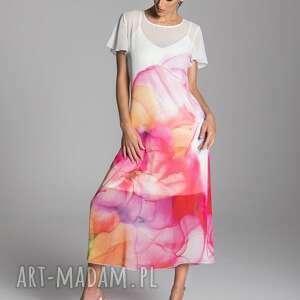 sukienki długa letnia sukienka trapezowa kolorowa z szyfonu krótkim rękawem