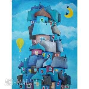 Obraz na płótnie BAJKOWE MIASTECZKO format 40/30cm, bajka, miasteczko, abstrakcja