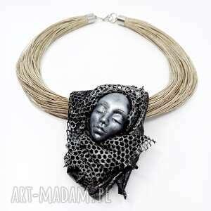 kobiecy artystyczny naszyjnik lniany, naszyjnik kobiecy, prezent dla mamy, prezent