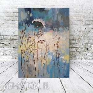 NIEBIESKA ŁĄKA Z PAJĘCZYNĄ - obraz akrylowy formatu 30/40 cm, łąka, akryl, pajęczyna