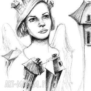 ANIOŁ DOMU rysunek ołówkiem artystki plastyka Adriany Laube , rysunek, anioł