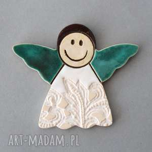 aniołek-magnes ceramiczny, minimalizm, chrzest, komunia, stróż, pamiątka