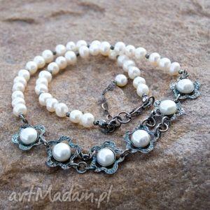 a271 srebrny naszyjnik z pereł - naszyjnik, srebro, srebrne, perły