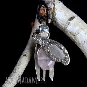 hand made wisiorki kwarc różowy widelczyk biżteria antyk