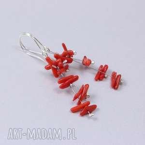 chileart czerwony koral i srebro - kolczyki grona 2828, koral, czerwony-koral
