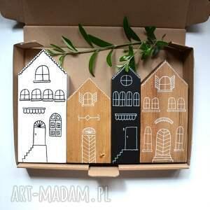 4 x domki drewniane ręcznie malowane, domki, domek, kamieniczki, miasteczko