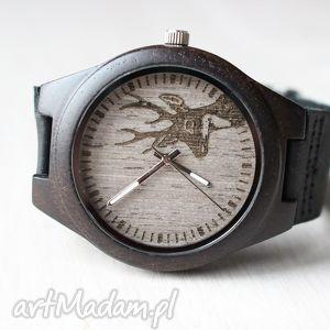 zegarek z hebanu black deer, zegarek, drewniany, jeleń, hebanowy