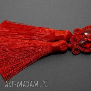 czerwone klipsy sutasz, sznurek, eleganckie, wiszące, wieczorowe, długie, chwost