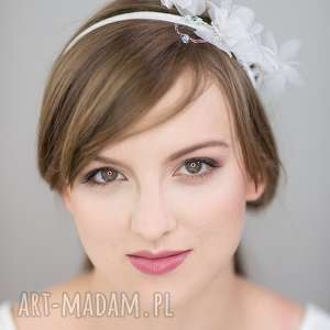 biały kwiat, jedwab, biały, ślub ozdoby do włosów