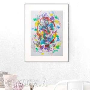 kolorowa grafika, abstrakcyjna nowoczesna dekoracja do salonu, abstrakcja malowana
