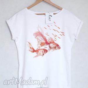 RYBY koszulka bawełniana biała L/XL, koszulka, bluzka, tshirt, bawełna, nadruk, ryby