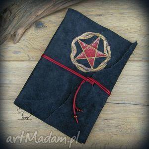 notesy notes a5 ze skórzaną miękką okładką pentagram - ręcznie robiony i malowany