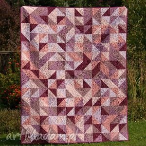 patchworkowa narzuta w fiolecie, patchwork, quilt, fiolet