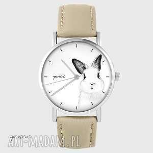 Zegarek yenoo - królik beżowy, skórzany zegarki zegarek