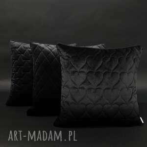 poduszki velvet, komplet poduszek czerń 45x45cm, poduszek, czarne