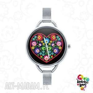 zegarki zegarek z grafiką serce ludowe, folk, miłość, walentyki, etniczne, ludowy