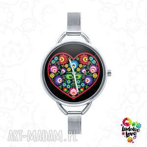 hand-made zegarki zegarek z grafiką serce ludowe