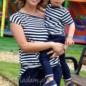 komplet marynarskich koszulek dla mamy i synka/córki, paski, marynarski
