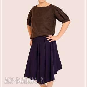 bluzki brązowa bluzka z bufiastymi rękawami s/m, welniana, welna, elegancka, rekaw
