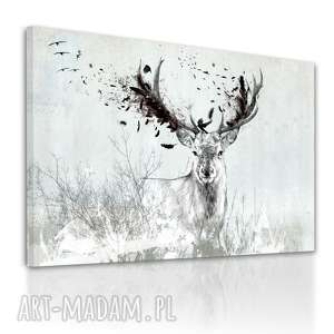 Obraz na płótnie - 100x70cm JELEŃ PRZEMIJANIE 02210 wysyłka w 24h, obraz, jeleń