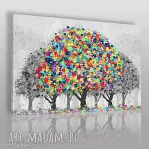 obraz na płótnie - drzewa szary kolorowy 120x80 cm 74601, drzewa, liście