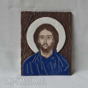 ślub ikona ceramiczna z wizerunkiem chrystusa - pantokrator, ikona, obraz