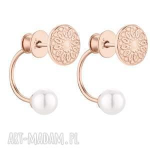 asymetryczne kolczyki medaliony z różowego złota z perłami