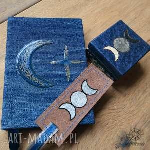 Zestaw Księżyc I - zeszyt A6 w twardej oprawie, zakładka do książki i pudełeczko