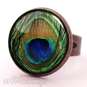 pawie oko - pierścionek regulowany pióro