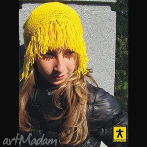 czapka z grzywką żółta, czapka, grzywka, oryginalna, wesoła, prezent