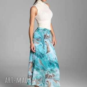 hand made spódnice długa letnia spódnica trapezowa z szyfonu w kolorze turkusowym