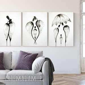 zestaw 3 grafik 50x70 cm wykonanych ręcznie, abstrakcja, elegancki minimalizm, obraz