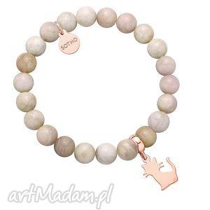 cielista bransoletka z kotkiem różowego złota, modna, minimalistyczna, srebro