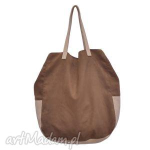 d2aac423b5b64 na ramię 06-0012 brązowa torba worek xxl zakupy swallow maxi