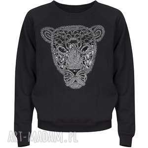BLUZA Z TYGRYSEM BEZ KOŁNIERZYKA, bluza, bawełna, uniwersalna, tygrys, czarna, ciepła