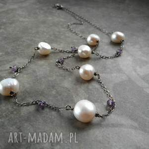 naszyjnik z perłami i ametystem, perłami, perłowy naszyjnik, srebrny
