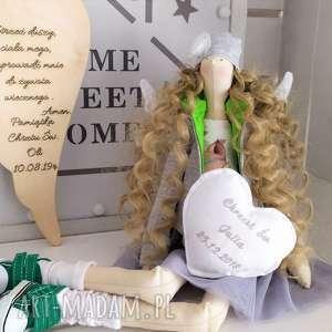 Anioł tilda lalka na chrzest stróż lalki fabryqaprzytulanek