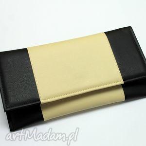 Kopertówka - czarna i środek jasny beż torebki niezwykle wesele