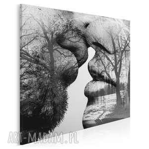 Obraz na płótnie - pocałunek drzewa w kwadracie 80x80 cm 29503