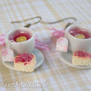 malinowo-cytrynowa herbatka, modelina, maliny, ceramika, fimo, filiżanka