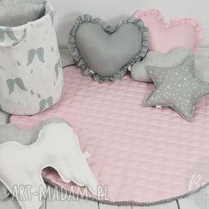 handmade pokoik dziecka mata pikowana do zabawy dywanik pudrowy róż