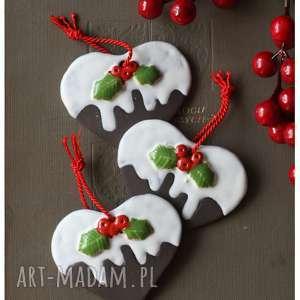 pomysł na prezenty święta Zestaw 3 pierniczków z lukrem, ceramika, piernik, serce