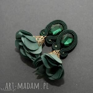 klipsy sutasz z kwiatkiem, sznurek, eleganckie, wiszące, szmaragdowe, małe